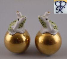 Kämmer Porzellan Streuer Frosch auf goldener Kugel grün H8,5cm 9944070