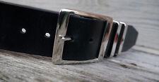 Men's Shiny Black Leather Jeans Belt, 2 inch wide buffalo leather