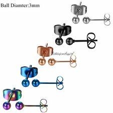 3-8mm Round Ball Bead Stainless Steel Men Women Pierced Ear Stud Earrings 10pcs