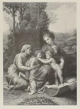1881-LA PICCOLA SACRA FAMIGLIA -PARIS-RAFFAELLO-ARTE SACRA-INCISIONE ORIGI