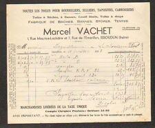 """ISSOUDUN (36) USINE de TOILES BACHES TENTES STORES """"Marcel VACHET"""" en 1938"""