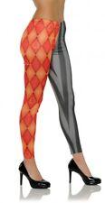Orange Black Leggings Clown Goth Argyle Stripe Adult Women's Costume XS S/M L/XL