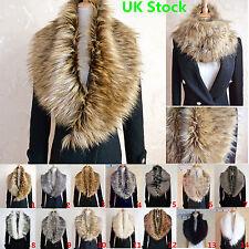 Ladies Women Faux Fur Collar Scarf Fluffy Winter Shawl Wrap Stole Scarfs Chic