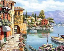 Seaside Village Boat Scenery Full drill 5D Diamond Painting Art Home Decor D32