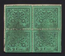 Francobollo 2 c. verde chiaro - quartina angolo di fogl