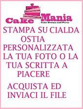 Cialda Ostia per torta Personalizzabile A4 a piacere con foto o scritta ostie