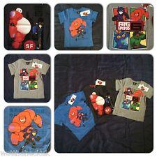 Official Disney Big Hero 6 Movie Boys T Shirt Tee Baymax Hiro Hamada Top Tshirt