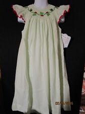 SMOCKED GREEN STRIPE SEERSUCKER LADYBUG DRESS W/ RED TRIM ACCENT REMEMBER NGUYEN