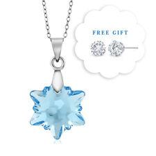 Aqua Blue Snowflake Edelweiss Flower Pendant Created with Swarovski® Crystals