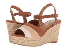 Brand New Coach Women's Farren Suede Saddle/Chalk wedge Sandals