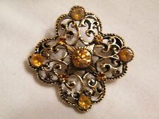 Stunning Brooch Pin Gold Filligree Gold Rhinestones Wow