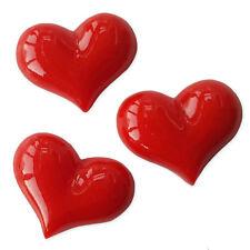 3 un. Resina Dorso Plano Cabujones Adorno de corazón rojo Decoden Artesanía de San Valentín