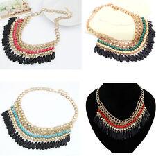 Bohemian Vintage Stylish Layered Beads Tassel Choker Bib Crew Gold Necklace P71