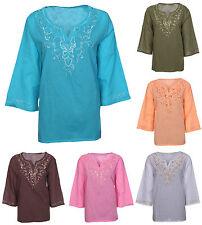 Womens Ladies Plus Size 18-24 Tunic Tops Cotton Shirts Blouse  Slit Side Kurti