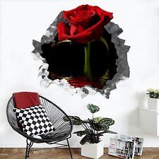 3D Bella Rosa Rossa 200 Parete Murales Parete Adesivi Decal Sfondamento IT