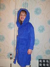 100% Algodón Tejido de rizo infantil Capucha Batas , azul real, Edad 2-12