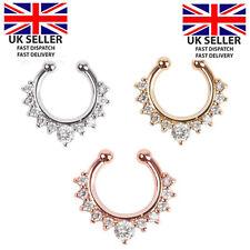 FALSO Setto Clicker Piercing al naso Non Piercing Staffa Clip per gioielli Regno Unito Argento Oro