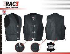 Mens Black Classic Side Laces Motorbike Split Cowhide Mild Leather Waistcoat