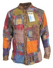 Patchwork Grid Button Down Grandad Collarless Causal Pocket Shirt Tops Kurtas