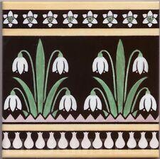 "Arts & Crafts Style Ceramic Tile Fireplace Kitchen Bathroom Dado ""snowdrop"""