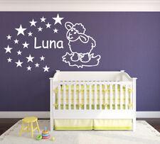 Kinderzimmer Wandtattoo Aufkleber Name Schäfchen Tür Schaf Sterne Baby Kind wu81