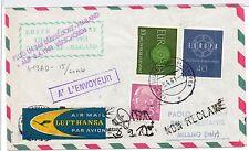 1961 GERMANIA POSTA AEREA VOLO LUFTHANSA DUSSELDORF-MILANO B/6752