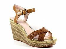 Vince Camuto Tadeta Beachwood Brown Woven Soft Calf Leather Wedge NEW Size 10