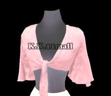 Baby Pink Satin Belly Dancing Ruffle Top Haut Blouse Dancing Hot Costume S29