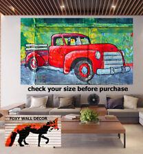Painting Vintage Street Art Classic Fj Holden red Car Print Canvas Australia