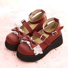 Lolita Sweet Womens Japanese Bowknot Flats Platform Round Toe Shoes Mary Janes