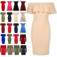 Ladies Womens Bardot Off Shoulder Ruffle Peplum Frill Bodycon Bandage Midi Dress
