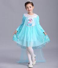 NEW girls Frozen Queen Elsa Princess Anna blue Pink Party Dress ZG9