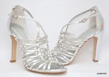New BCBG Generation *PEETIE* Strappy Sandal Pump Peep Toe ~Silver *8.5/38.5