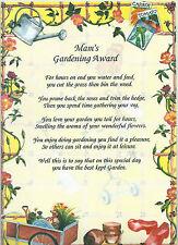 Gardening Award Poem Verse Rhyme A4 Laminated Keepsake Gift Mum Grandma Dad