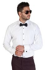 New Men's White Tuxedo Dress Shirt Slim Tailored Fit French Cuff Spread Collar