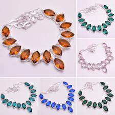 925 Sterling Silver Overlay Gemstone Statement Necklace Women Jewelry PN794c