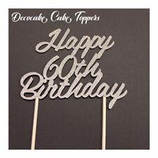 Happy 60th Birthday Cake Topper Various Styles Australian Seller