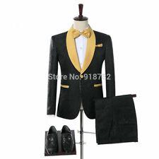 Men Black Suit Jacket Jacquard Paisley Tuxedo Gold Shawl Lapel Wedding Suit