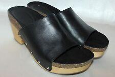 NEW! Anthropologie LATIGO Soft Black Leather ATHLETA Open Toe Heeled Clog Sz 6.5
