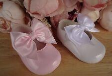 Bebé Niña Blanco Pink Big Bow patente Mary Janes Pram Zapatos Bautizo 0-3-6-12m