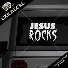 Jesus Rocks Christian Car Decal sticker gift Christian Religious Rad 80's style