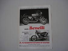 advertising Pubblicità 1973 MOTO BENELLI 650 S2/125 2C