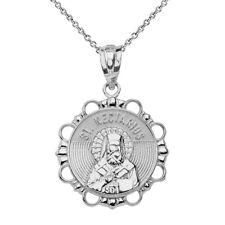 14k White Gold Saint Nectarios Round Circle Religious Pendant Necklace