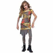 Kids Girls Caution Zombie Apocalypse Biohazard Toxic Infected Halloween Costume