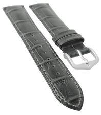 HIRSCH DUKE L | Uhrenarmband italienisches Leder / Alligatorprägung / Grau 31019