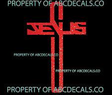 VRS RELIGIOUS CROSS JESUS Name CAR DECAL METAL STICKER