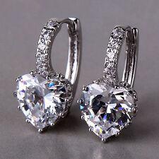 REAL 18CT White 'Gold Filled' White Heart Earrings for Mum Sister Birthday Gift!