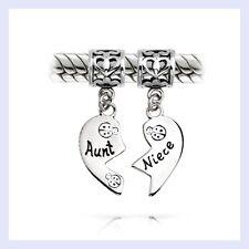 STR Silver Aunt Niece Dangle Heart Love Family Bead for European Charm Bracelet