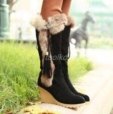 Chic Women's Winter Faux Suede Wedge Heel Fur Trim Knee High Boots Warm Shoes sz