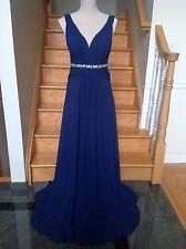 New FAVIANA s7577 NAVY IVORY Chiffon V-neck dress with beaded belt. Size 4 6 8